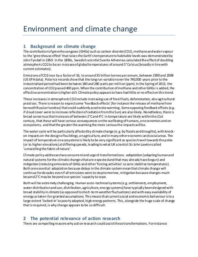 Environment and climate change 1 Background on climate change The contributionof greenhousegases(GHGs) suchas carbon dioxi...