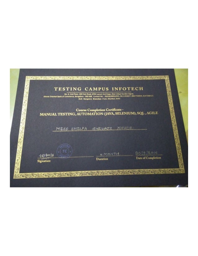 Manual Automation Testing Certificate