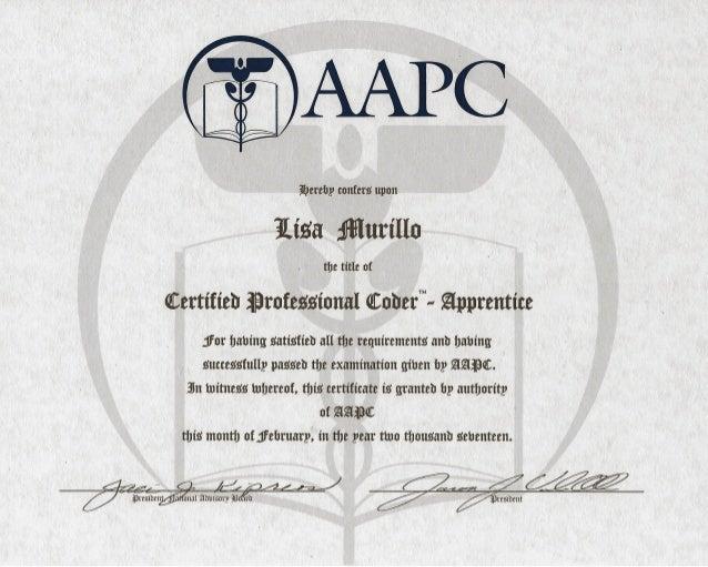 lisa's aapc certification