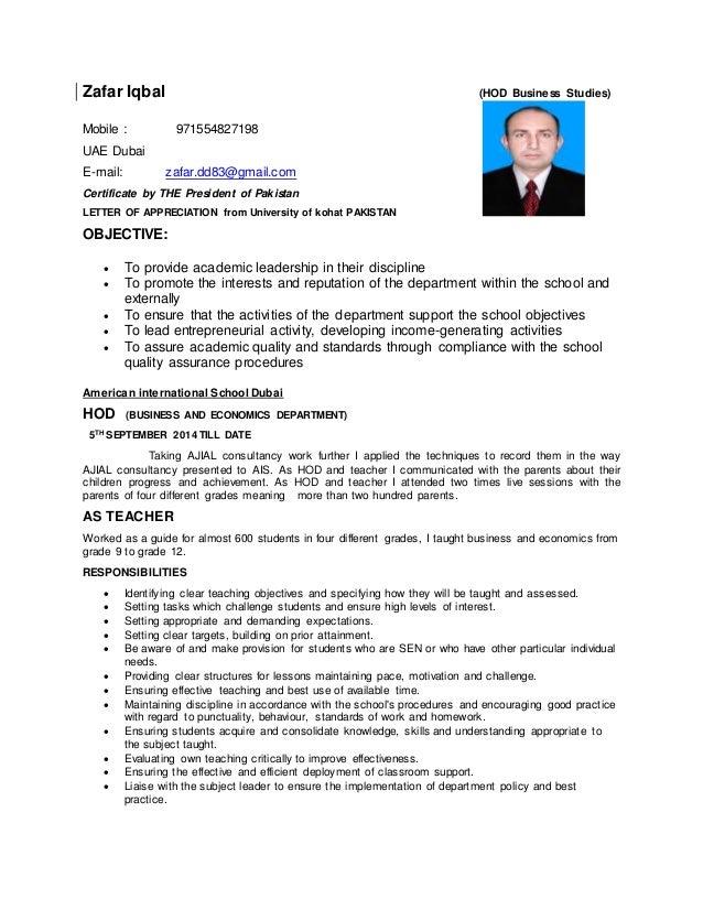 zafar iqbal resume