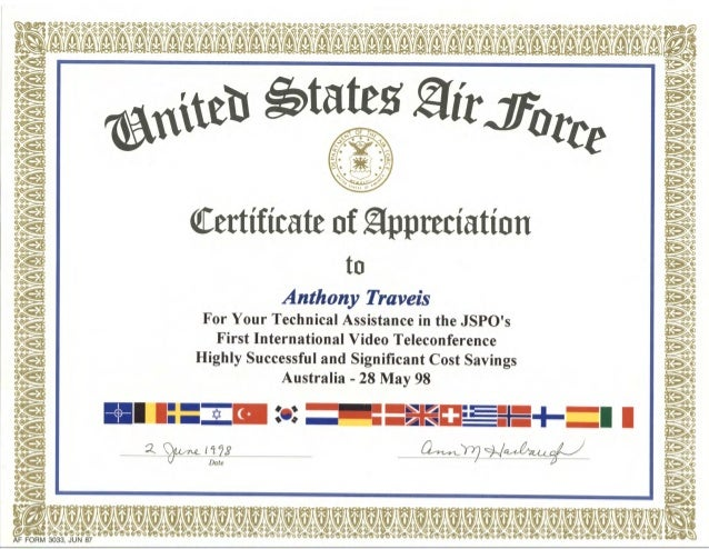 Tony traveis usaf certificate of appreciation for Air force certificate of appreciation template