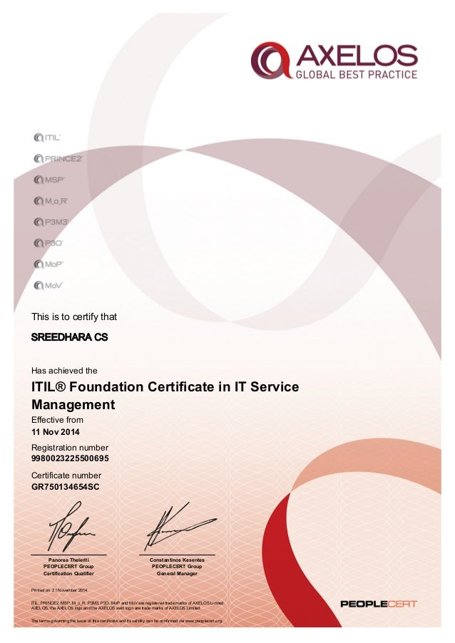 This is to certify that Printed on 21 November 2014 Has achieved the Effective from 11 Nov 2014 Registration number Certif...