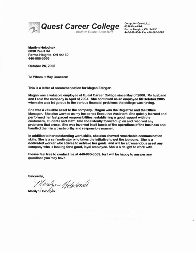 quest career college recommendation letter