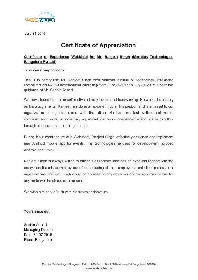 Internship certificate ranjeeth internshipcx july 31 2015 certificate of appreciation certificate of experience webmobi for mr ranjeet singh yadclub Choice Image