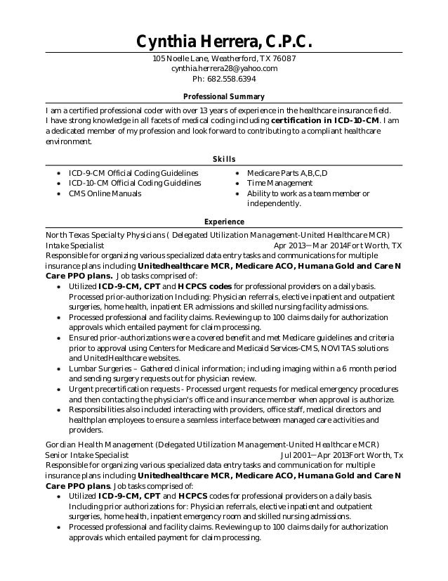 04-12-15 Resume with ICD-10-CM Certification