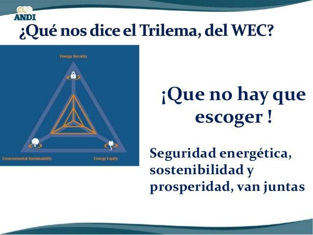 LA DEMANDA DE ENERGÍA CRECERÁ Fuente: IEA, 2014 LA POBLACIÓN CRECERÁ (MILLONES) 2014 2050 MUNDO 7238 9683 COLOMBIA 47 61 F...
