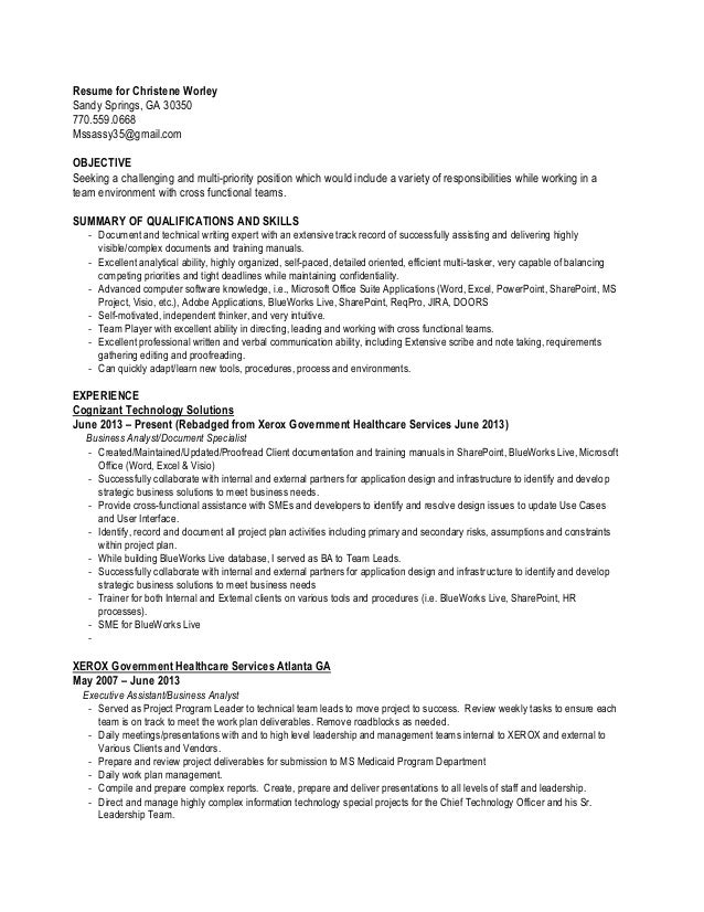 Resume for Christene Worley Sandy Springs, GA 30350 770.559.0668 Mssassy35@gmail.com OBJECTIVE Seeking a challenging and m...