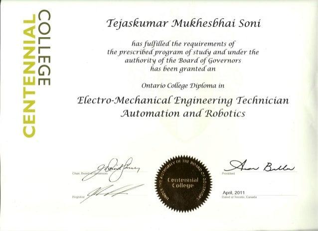 4. Centennial College certificate