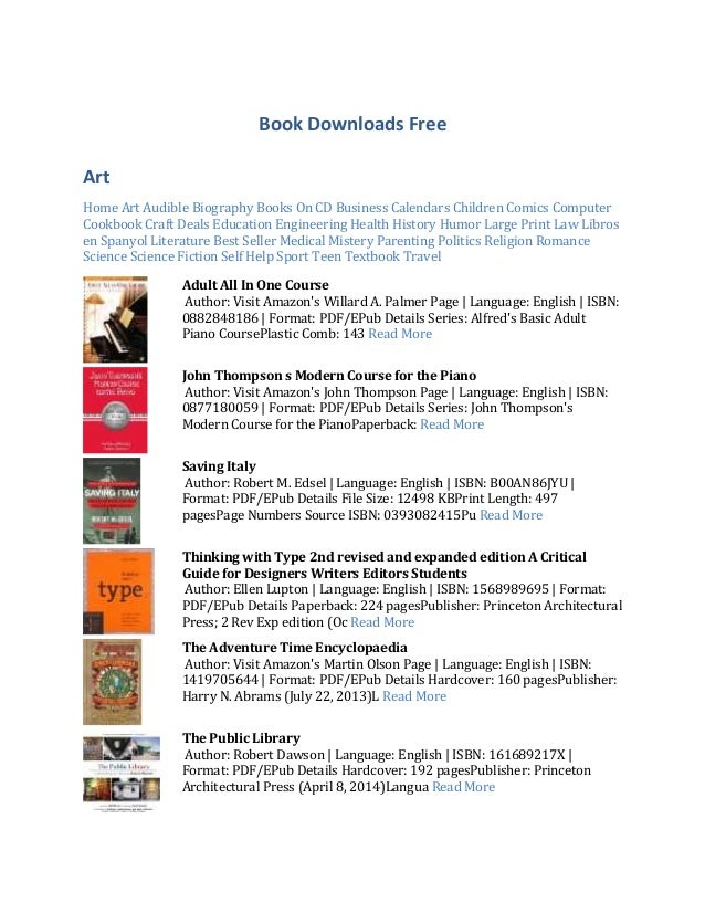 Book Downloads Free Art Home Art Audible Biography Books On CD Business Calendars Children Comics Computer Cookbook Craft ...