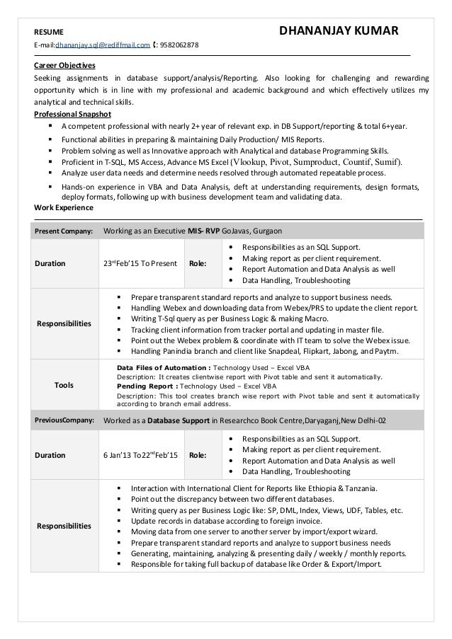 resume dhananjay kumar e maildhananjaysqlrediffmailcom tools multi report - Sql Report Writing