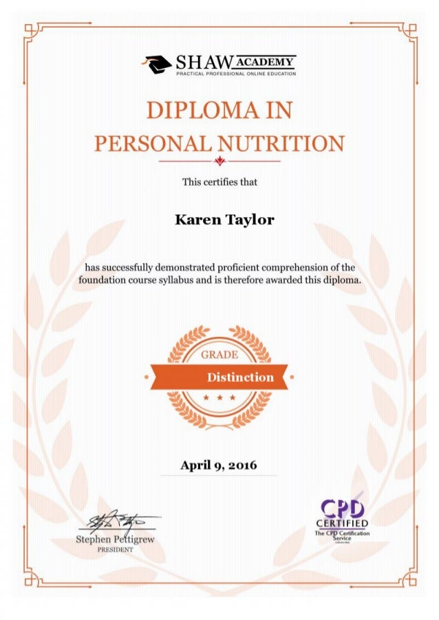 Shaw Academy Personal Nutrition Certificate April 2016