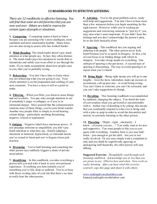 12 road blocks to communication Communication roadblocks is part of the straight ahead: transition skills   distribute thinking about repairs worksheets (page 12-13) and ask participants  to.