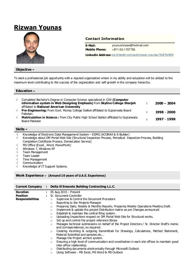 resume for document controller updated