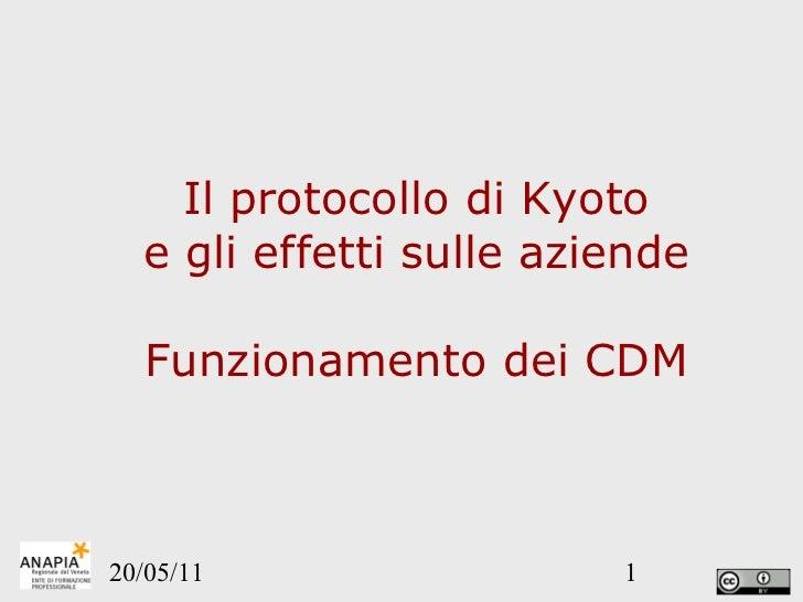 Il protocollo di Kyoto e gli effetti sulle aziende Funzionamento dei CDM