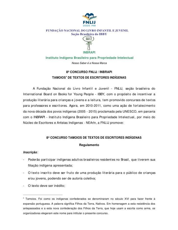 FUNDAÇÃO NACIONAL DO LIVRO INFANTIL E JUVENIL                                      Seção Brasileira do IBBY               ...