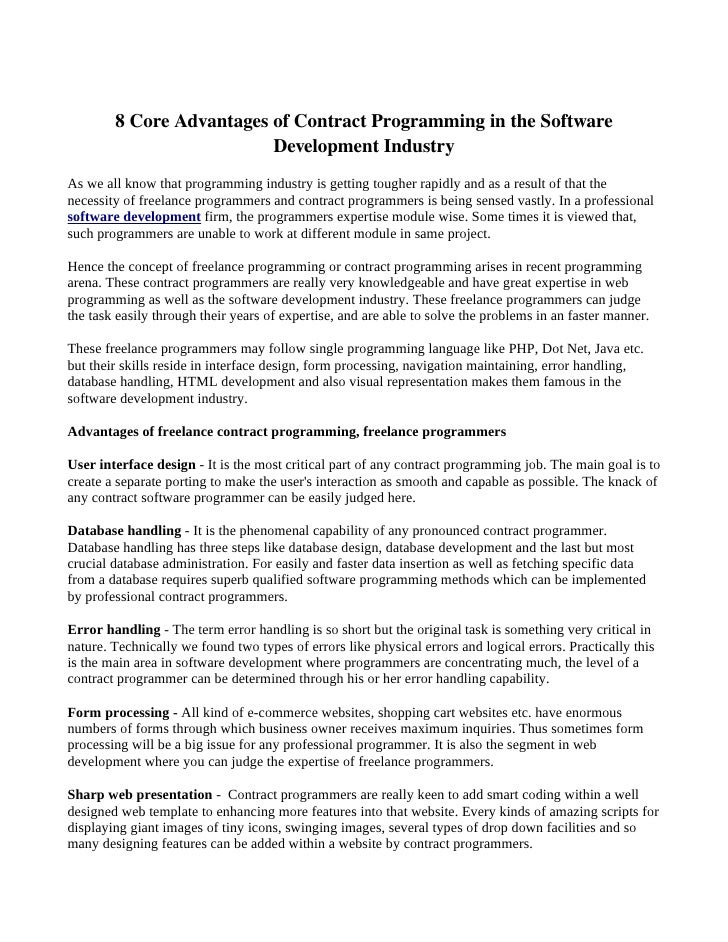 Core Advantages Of Contract Programming In The Software Development