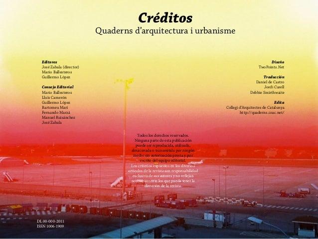 Créditos                             Quaderns d'arquitectura i urbanisme  Editores                                        ...