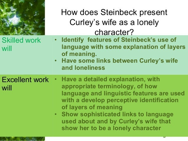 How does steinbeck present curleys wife