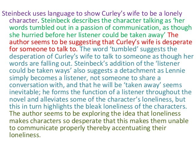 curleys wife essay loneliness