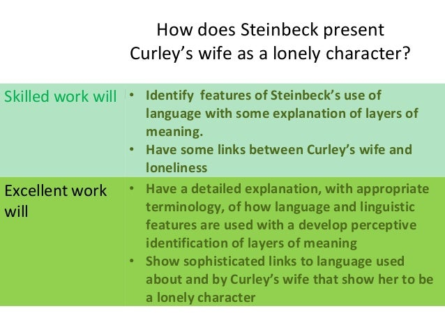 how does steinbeck present curlys wife How does steinbeck present curley's wife in 'of mice and men' in this essay i will show how steinbeck presents curley's wife in a number of ways throughout the novel 'of mice and men', showing both how she is portrayed as a 'nice girl' as well as a 'floozy.