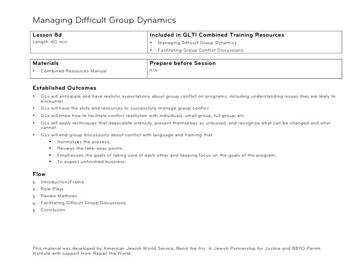 Managing Difficult Group Dynamics!Lesson 8d                                             Included in GLTI Combined Training...