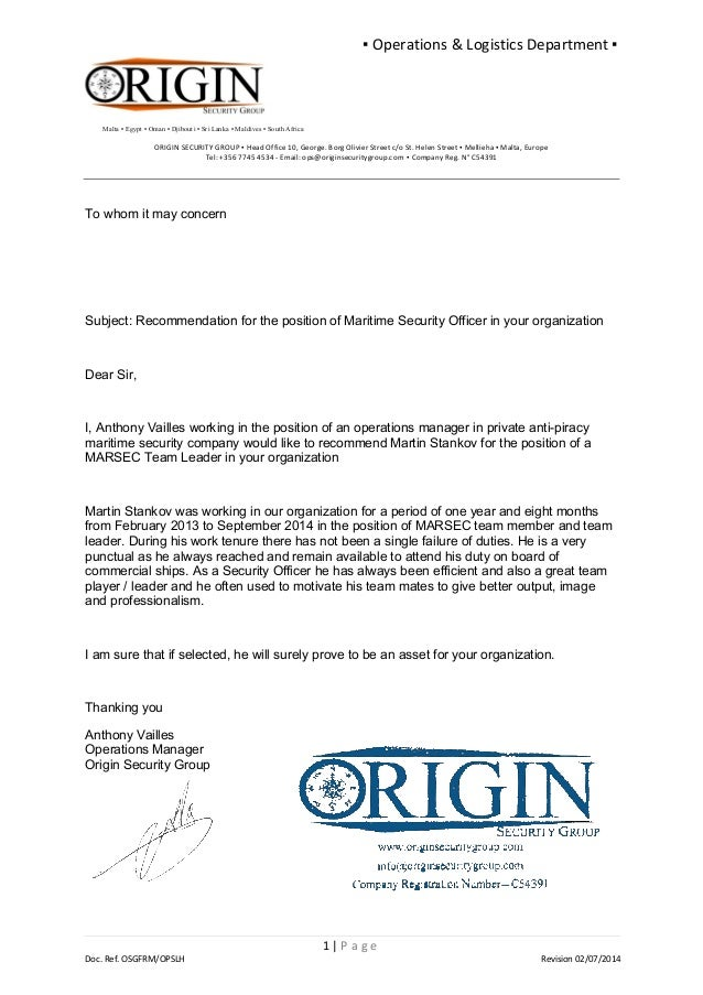 Osg Reference Letter Ops Manager