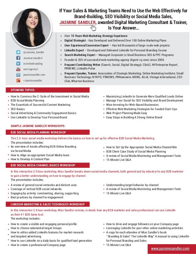 www.jasminesandler.com/ @Jasmine_Sandler Jasmine.Sandler1 in/onlinebranding user/agency1 jasminesandler.com +Jasminesandle...