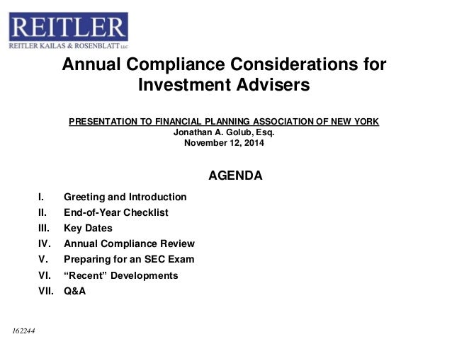 investment adviser compliance Annual Compliance Considerations for RIAs-JG Presentation for LinkedI…