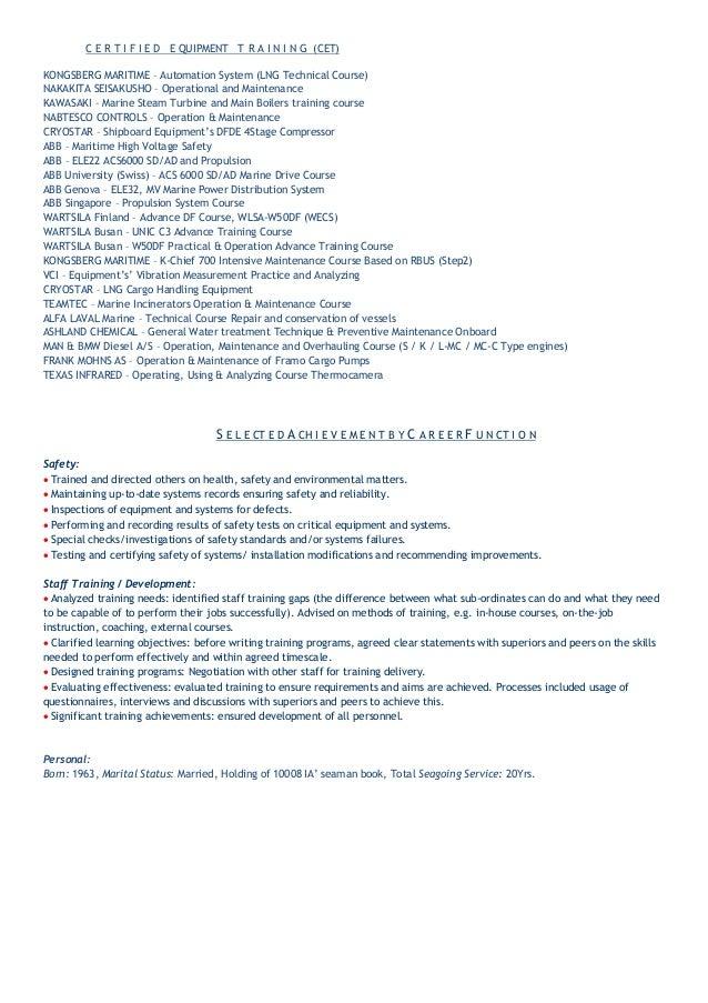 PAPAMARKOS KP Chief Engineer\'s CV data and certification