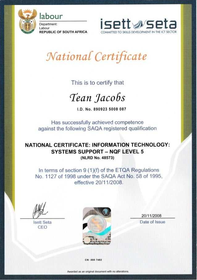 National Certificate It System Support
