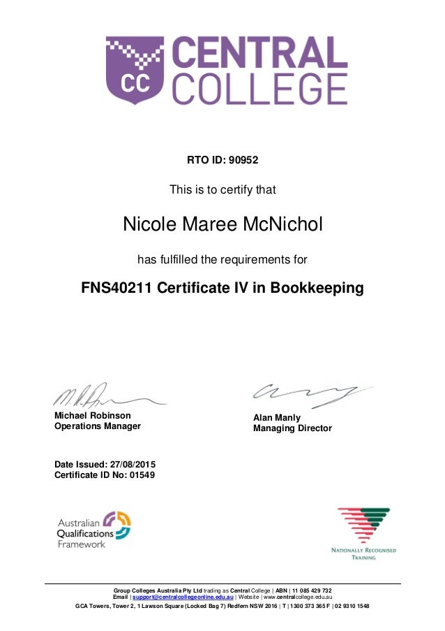 fns40211 certificate iv in bookkeeping