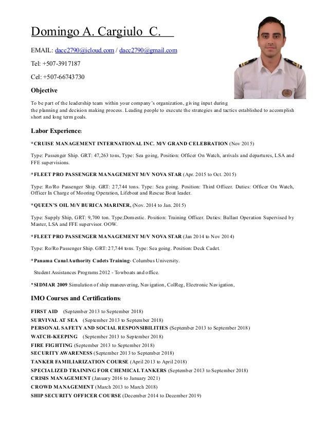 domingo cargiulo 2nd officer cv