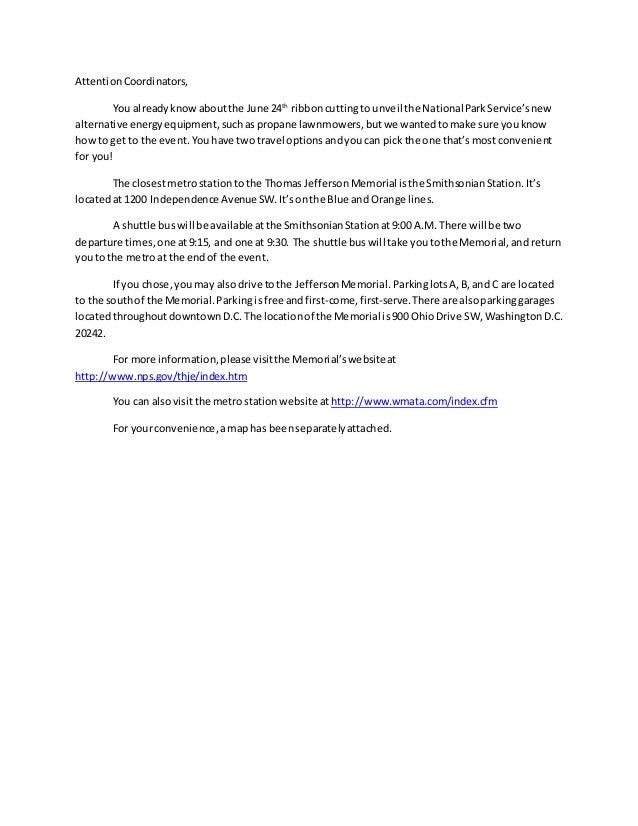 AttentionCoordinators, You alreadyknowaboutthe June 24th ribboncuttingto unveil the NationalParkService'snew alternative e...