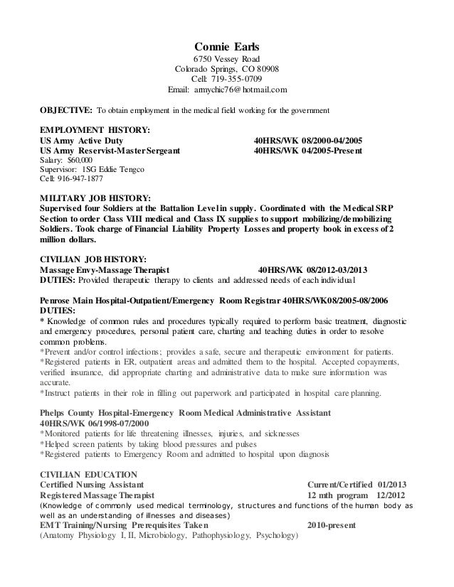 civilian resume 1 ma position