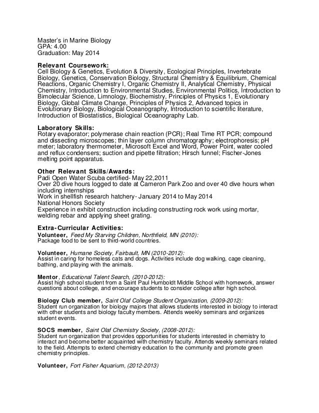 Conservation Technician Resume Example  Biology Resume