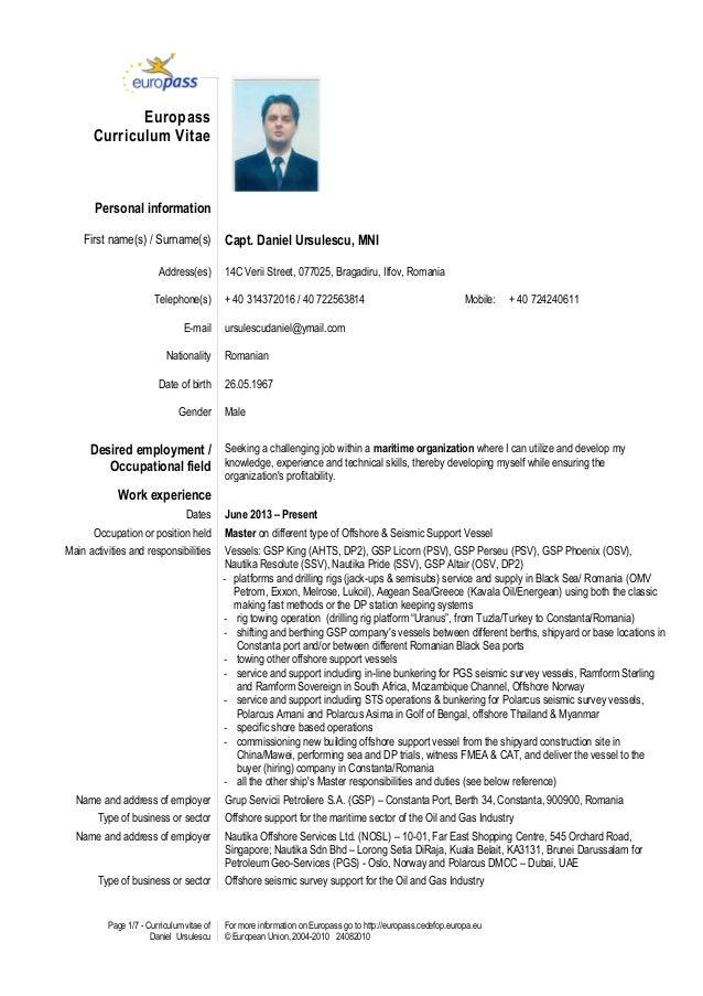Europass daniel daniel Cv Europass Ursulescu Cv Ursulescu
