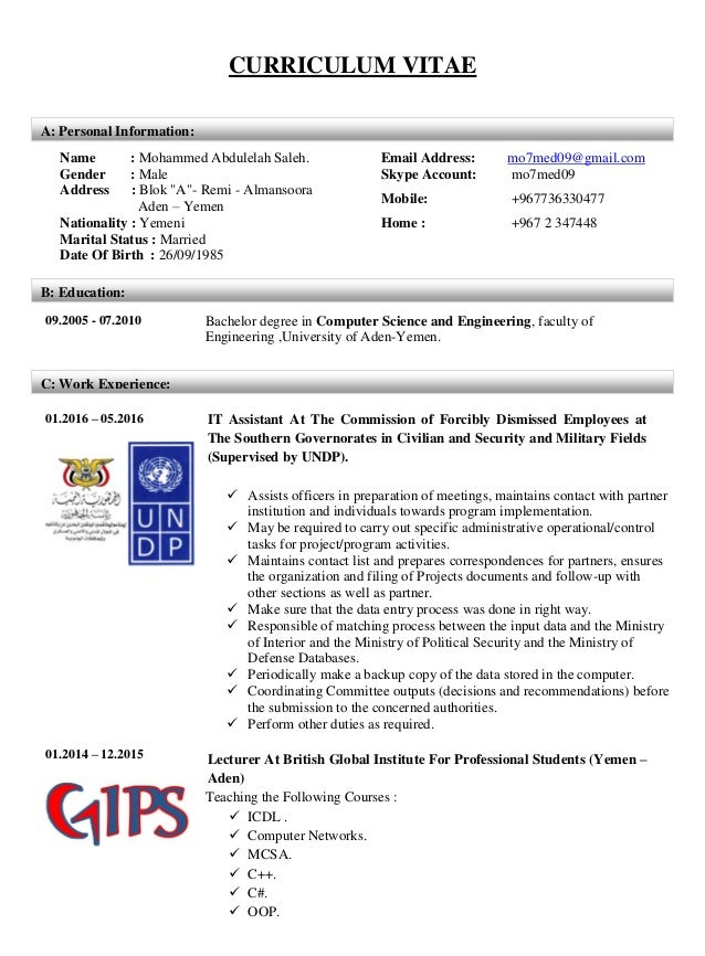 CURRICULUM VITAE 09.2005 - 07.2010 Bachelor degree in Computer Science and Engineering, faculty of Engineering ,University...