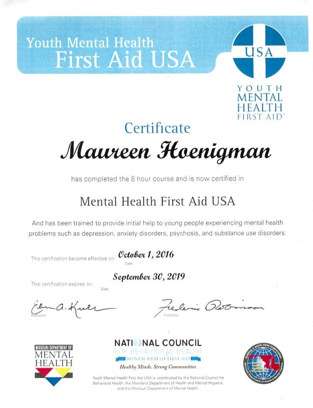 Youth Mental Health First Aid Ceritificate