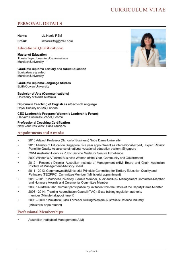 Page 1 Of 4 CURRICULUM VITAE PERSONAL DETAILS Name: Liz ...