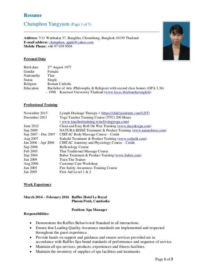Thai resume