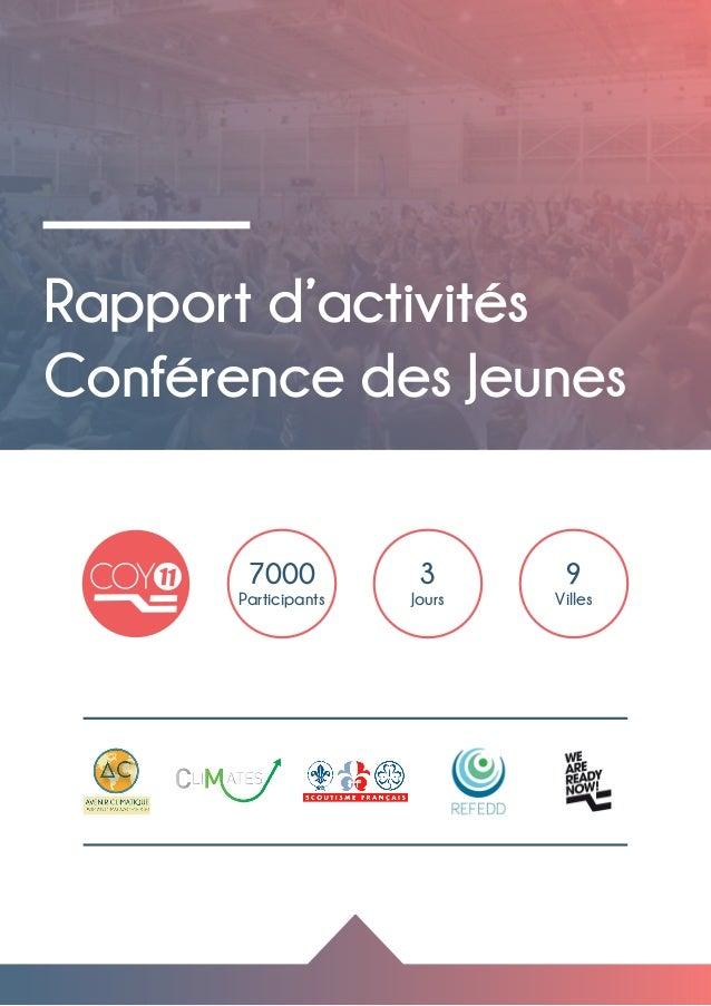 Rapport d'activités Conférence des Jeunes 3 Jours 9 Villes 7000 Participants