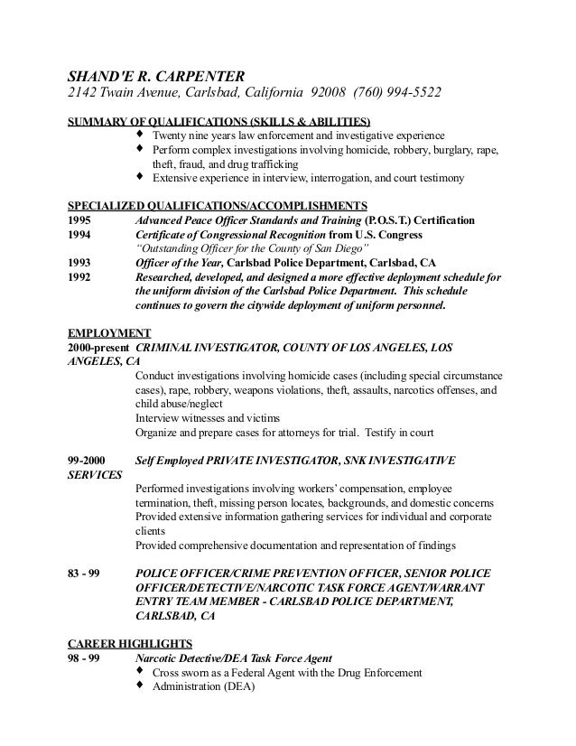 Shande Resume 2 – Private Investigator Resume