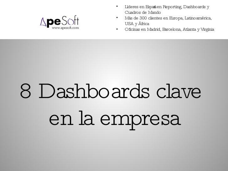 8 Dashboards clave  en la empresa <ul><li>Líderes en España en Reporting, Dashboards y Cuadros de Mando </li></ul><ul><li>...
