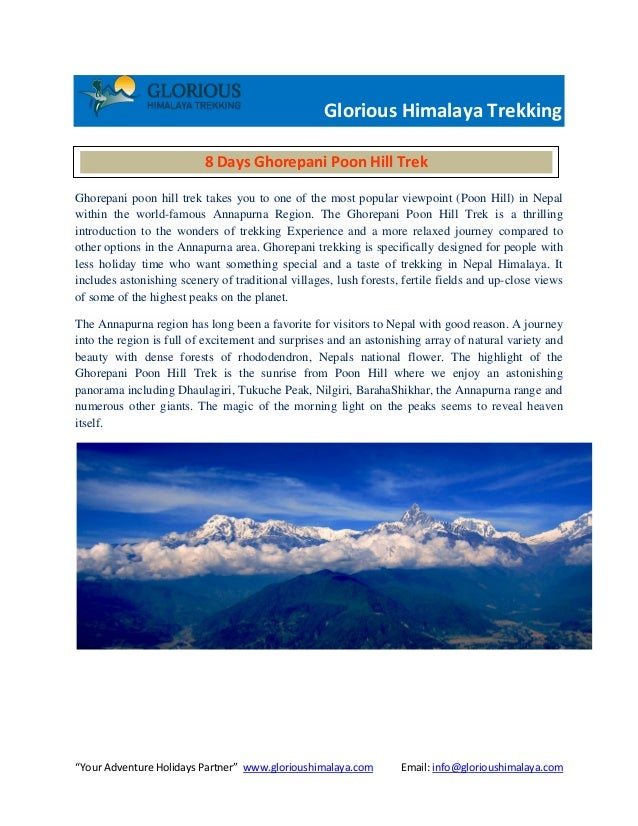 """Your Adventure Holidays Partner"" www.glorioushimalaya.com Email: info@glorioushimalaya.com Glorious Himalaya Trekking Gho..."