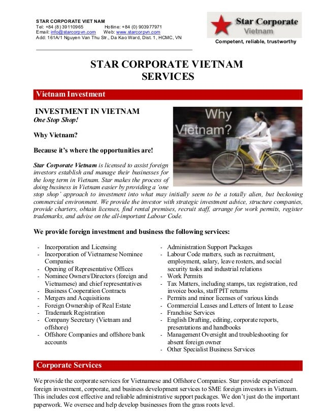 STAR CORPORATE VIET NAM Tel: +84 (8) 39110965 Hotline: +84 (0) 903977971 Email: info@starcorpvn.com Web: www.starcorpvn.co...