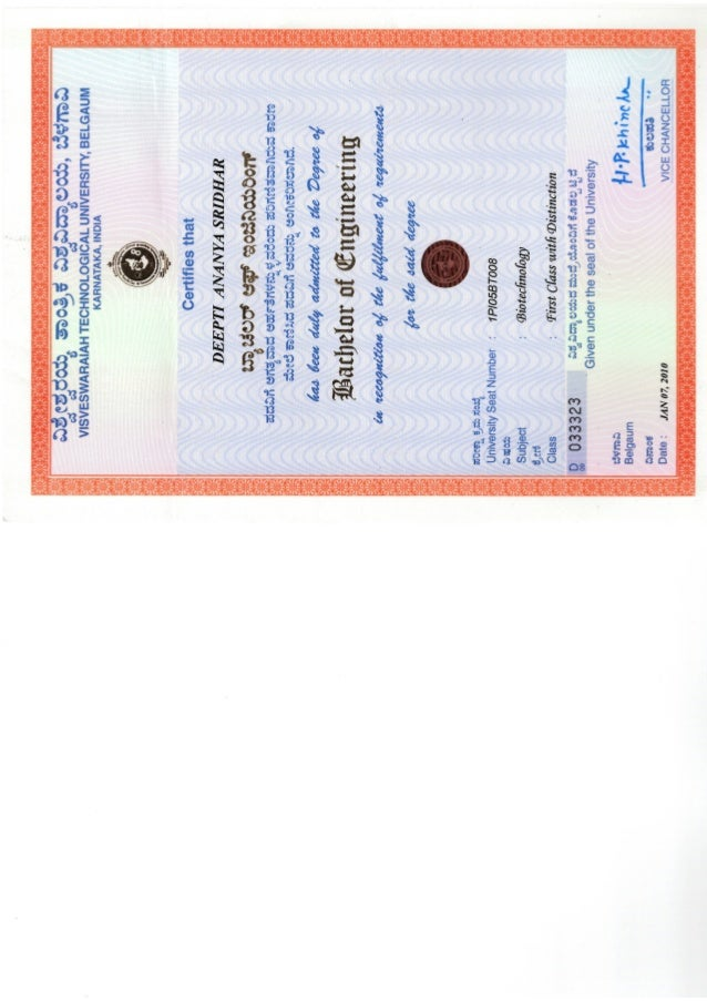 Be Biotechnology Certificate