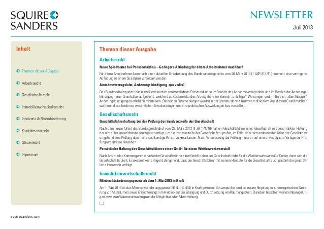 squiresanders.com  Themen dieser Ausgabe  Arbeitsrecht  Neue Spielräume bei Personalabbau – Geringere Abfindung für ältere...