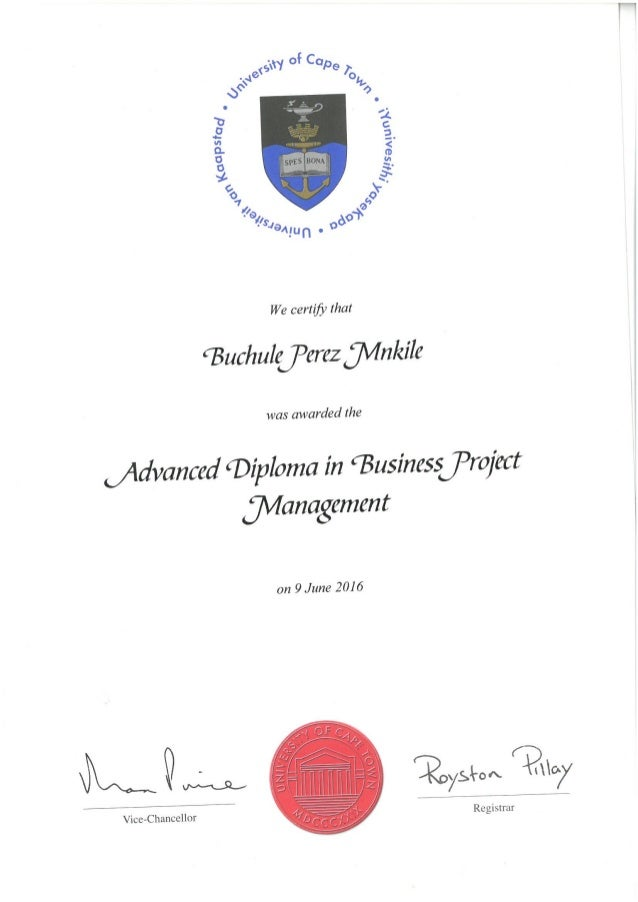 Uct Advanced Diploma In Business Project Management Certificate For P