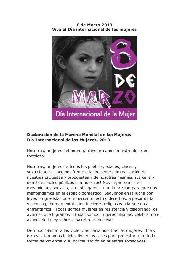 8 de Marzo 2013             Viva el Día internacional de las mujeresDeclaración de la Marcha Mundial de las MujeresDía Int...