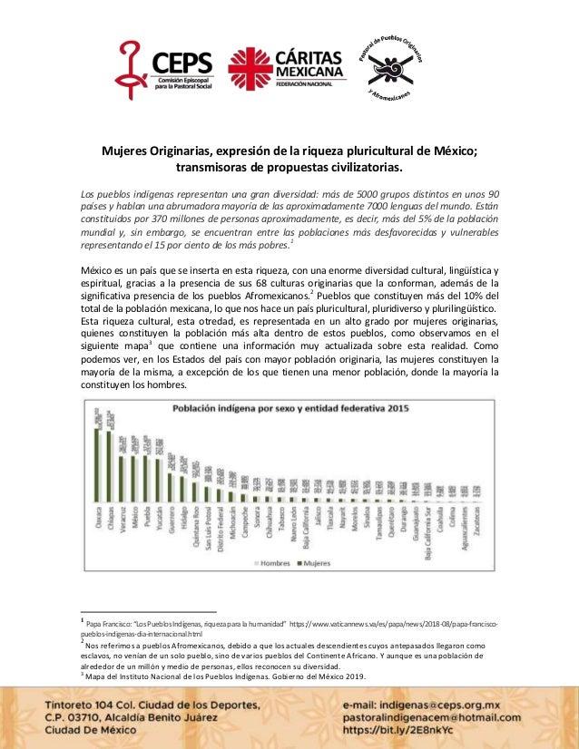 Mujeres Originarias, expresión de la riqueza pluricultural de México; transmisoras de propuestas civilizatorias. Los puebl...